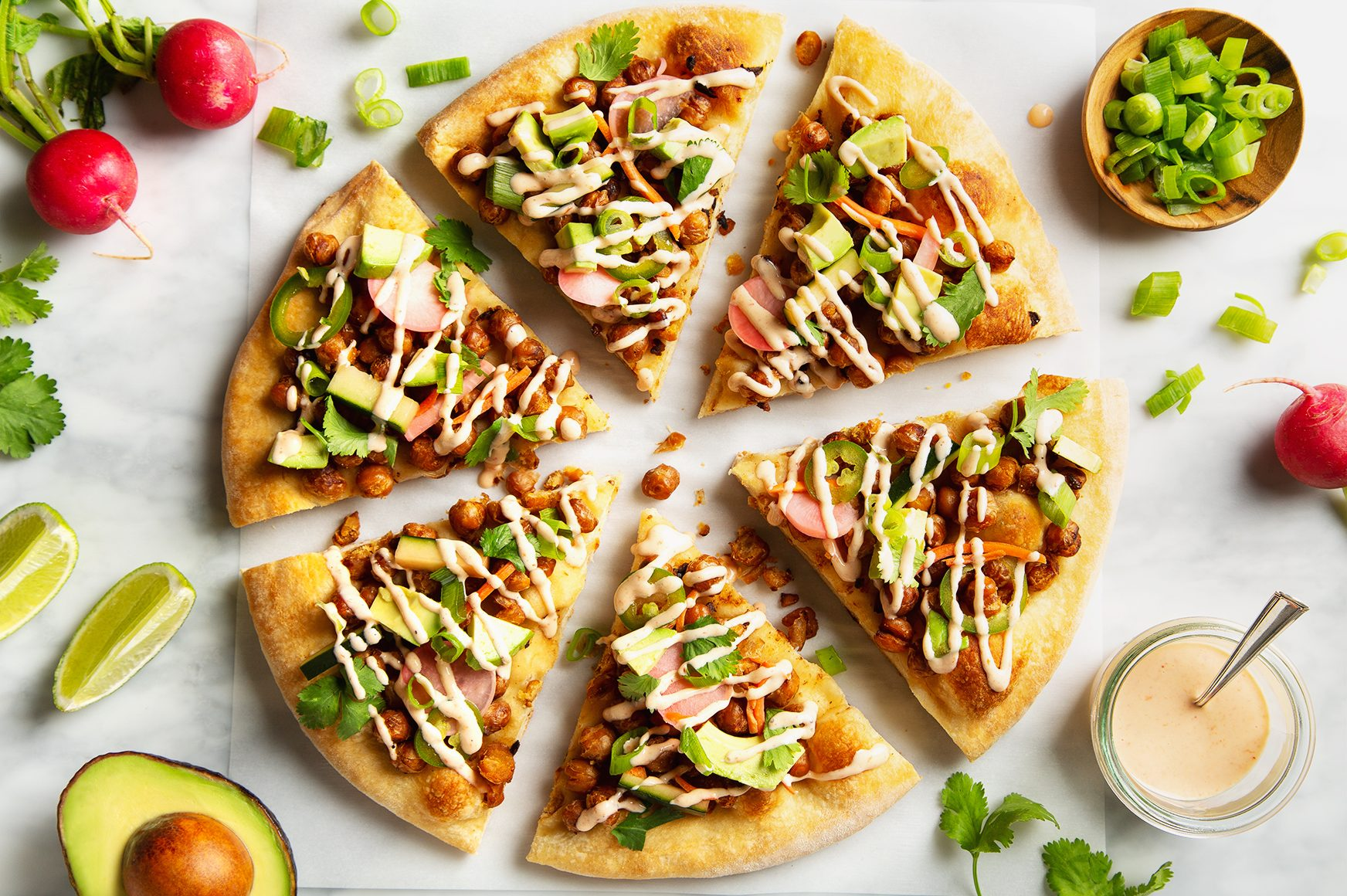 Crispy Chickpea Banh Mi Pizza with Quick Homemade Pickles!   picklesnhoney.com #chickpea #banhmi #pizza #vegan #lunch #dinner #recipe